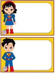 School Name Labels, Name Tag For School, First Day Of School, Superhero Classroom, Superhero Kids, Superhero Party, Anniversaire Wonder Woman, Superman Invitations, Printable Name Tags