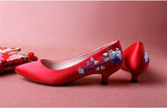 Top Quality Women Fashion embroidered Red High heels Shoes