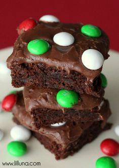 Brownie de chocolate y m&m's #christmasrecipes