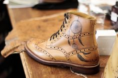 Dream Catcher tattoo on a tan leather brogue boot by Oliver Sweeney
