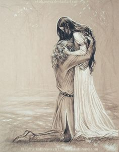 Aegnor and Andreth was the only Middle-earth couple in which there was a male elf and a mortal woman. They never married due to the ongoing war, and when Aegnor was slain Andreth remained unwed and childless for his sake.
