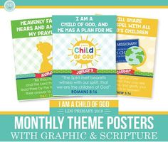 2018 LDS Primary Monthly Theme Posters I Am A Child Of God