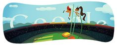(London Olympic Games being held):Pole vault Google Doodles, Logo Google, Pole Vault Video, Images Google, Art Google, Olympics News, Olympic Logo, Google Today, London