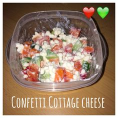 Serves 1 Container Equivalents (per serving): 1 Red, 1 Green // 3/4 cups cottage cheese Green pepper, diced Red pepper, diced Yellow pepper, diced Celery, diced Carrot, diced 1. Fill one cup of dic…