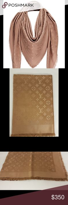 Louis Vuitton Cappuccino Monogram Color Soft and warm due to its mixture of silk and wool this shawl is printed tone-on-tone with the Monogram pattern signed Louis Vuitton Paris. Its style is classical and timeless. 56.1 x 56.1 inches  (Length x Width)  - 60% silk and 40% wool - Printed with the Monogram pattern tone-on-tone Louis Vuitton Accessories Scarves & Wraps