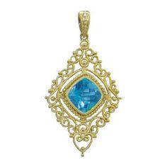 Blue Topaz Pendant https://www.goldinart.com/shop/necklaces/colored-gemstones-necklaces/blue-topaz-pendant-2 #14KaratYellowGold, #BlueTopazPendant