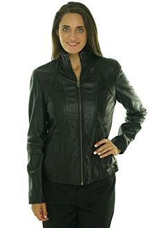 Marc New York By Andrew Marc Women's Vanity Scuba Jacket Leather Black (Large)