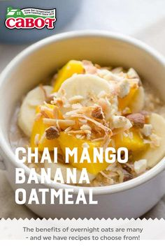 What's better than a scoop of yummy, filling, chai mango banana oats in your bowl? With a few simple steps before you go to bed, you can wake up to something delicious with no fuss and no muss! Try our tasty recipes for overnight oats tonight. #recipe #breakfast #brunch #oatmeal #easy Delicious Breakfast Recipes, Brunch Recipes, Yummy Food, Tasty, Overnight Oats Benefits, Greek Yogurt Recipes, Banana Oats, Yummy Smoothies, Breakfast Casserole