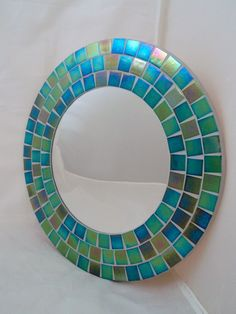 Vitreous Gl Irridescent Mosaic Tiles Green With Envy Hand Made Round Mirror