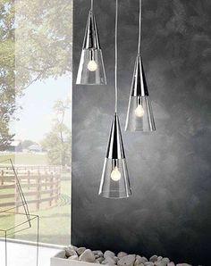 Lampadario lampada sospensione moderno 3 luci  acciaio cromo vetro cono tavolo • EUR 138,00