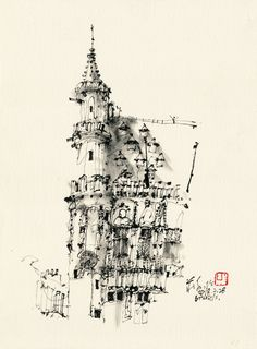 Size: 38 x 28 cm Media: Chinese ink on paper Beautiful Drawings, Cool Drawings, Grand Place, Oriental, Drawing Studies, Pen And Watercolor, Urban Sketchers, Chinese Painting, Van Gogh