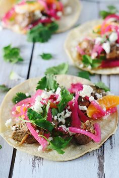 Pin for Later: 29 Summer Recipes That Make Feeding a Crowd a Breeze Slow-Cooker Pomegranate Pork Tacos With Quick-Pickled Red Onions Get the recipe: slow-cooker pomegranate pork tacos with quick-pickled red onions Pork Recipes, Mexican Food Recipes, Dinner Recipes, Family Recipes, Cooking For A Crowd, Food For A Crowd, Slow Cooker Pork, Slow Cooker Recipes, Crockpot Ideas