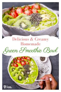 Get my creamy green smoothie bowl recipe and 6 reasons why smoothie bowls are one of the things that I cant live without. Read the post to find out why and get the recipe. Berry Smoothie Recipe, Easy Smoothies, Green Smoothie Recipes, Smoothie Bowl, Green Smoothies, Raw Vegan Recipes, Fruit Recipes, Whole Food Recipes, Blender Recipes