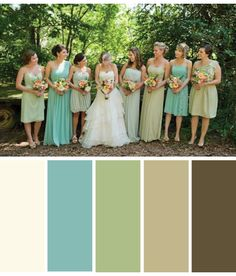Color Palette: Antique Lace, Robin's Egg Blue, Sage Green, Tan, Brown -another living room option? Shows bridesmaids etc for a wedding but I think these are the colors I'm going for in my living room Best Color Schemes, Brown Color Schemes, Color Schemes Colour Palettes, Living Room Color Schemes, Living Room Colors, Color Combos, Bedroom Colors, Sage Color Palette, Green Pallete