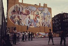 I love seeing old pics of NYC, and for some reason, I'm obsessed with cheesy '70s-era urban murals (like this one at the Hell's Kitchen Playground).