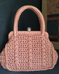 Vintage Spring Handbag Hand Crochet Peach Blush Clay Color Top