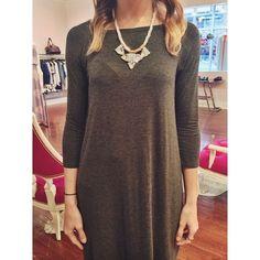 dress: #susanamonaco charcoal Parker long sleeve dress $118 // necklace $46 #statementnecklace #staple #kkbloomstyle #fashion