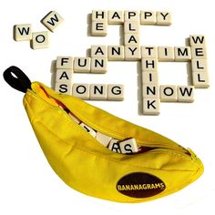 Bananagrams is a fast and fun word game that requires no pencil, paper or board. All you need is a table. One hand can be played in as little as five minutes. It's a great game for family fun as well as being educational. Word Games, Fun Games, Games To Play, Recess Games, Banana Gram, Puzzles, Childrens Christmas Gifts, Travel Toys, Games For Teens