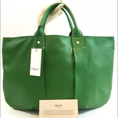 "NWT! Clare V. La Tropezienne Green Leather Bag BRAND NEW / 100% AUTHENTIC CLARE VIVIER (CLARE V.) LA TROPEZIENNE 5"" RARE GREEN LEATHER FROM ITALY (THIS COLOR WAS NOT MASS PRODUCED AND IS VERY LIMITED) $428 RETAIL DIMENSIONS:  17"" X 12"" 5"" HANDLE DROP FULLY LINED WITH INTERIOR ZIP POCKET (NAVY FABRIC WITH BRASS HARDWARE)  THIS IS L.A. DESIGNER CLARE VIVIER'S FIRST CLASSIC BAG - THE ONE THAT STARTED IT ALL! HAND DYED LEATHER FROM ITALY ❎ no trades or low ball offers  make an offer below Clare…"
