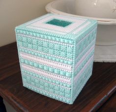 Boutique Tissue Box Cover  Pastel Green and by NeedlecraftsPlus