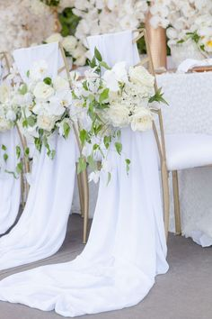flowing fabric white wedding chair decoration ideas