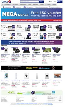 The UKs Biggest Electrical Sale Now On | Currys. Good responsive design. Layout keeps the image header a reasonable size and has lots of opportunities for content holes of different sizes.