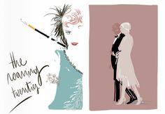 Great Gatsby roaring 20s style fashion illustration