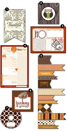 Free printables for menus, cards, placecards, etc. Cute!