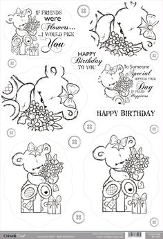Buzzcraft Colour & Craft cute die cut toppers - Bear Flowers