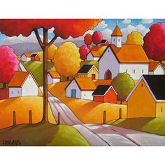 Art Print Autumn Town Road, Modern Folk Art Fall Village Church Landscape, Giclee Artwork by Cathy Horvath Buchanan by SoloWorkStudio on Etsy