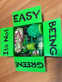 Greenie package – St Patrick's Day Care Package Greenie Missionary Package, Missionary Care Packages, Missionary Gifts, Cute Birthday Gift, Friend Birthday Gifts, Birthday Box, Birthday Ideas, Diy Gifts For Him, Bff Gifts