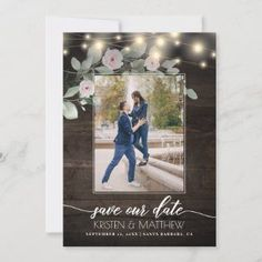 Elegant Rustic Wood Lights Greenery Boho Wedding Save The Date - Whether you are planning an outdoor wedding or just want a rustic flair for your big day, these save the date cards are elegant with the watercolor floral greenery and string lights. Delight your guests with this memorable announcement where you can add your photo.