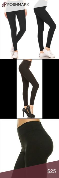 """Butter soft yoga black leggings Full length butter soft and stretchy black leggings with yoga style hi waistband (3"""") Breathable fabric 92% polyester 8% spandex. These are not lined. One size fits 2-14 Pants Leggings"""