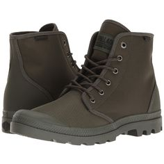 Palladium Pampa Hi Originale TX (Army Green/Castlerock) Lace-up Boots ($75) ❤ liked on Polyvore featuring shoes, boots, laced boots, ankle length boots, lacing boots, synthetic boots and palladium shoes