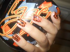 A set of nails my friend made for me. Yes, I have an obsession with Ichigo Kurosaki from the anime Bleach