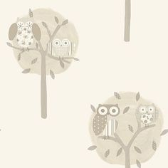 Twit-Twoo (11112) - Albany Wallpapers - Pretty patchwork owls in simple tree shapes  make the perfect nursery paper.  Shown here in creams and beiges on off white. Please request sample for true colour match.