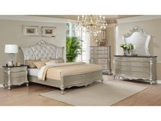 Angelina 6 Piece King Upholstered Bedroom Set Metallic regarding proportions 1500 X 1121 Angelina King Bedroom Set - The bedroom will be the most personal Glam Bedroom Set, Black Bedroom Sets, Sleigh Bedroom Set, King Bedroom Sets, Queen Bedroom, Queen Headboard, Home Bedroom, Bedroom Ideas, Bedroom Decor