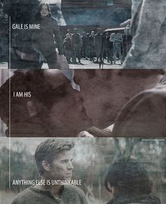 Ugh :/ and yet he destroyed this by chosing hatred :( abd besides... She needs Peeta and Peeta needs her... Gale didnt love or need her enoug... He relied on his hatred instead