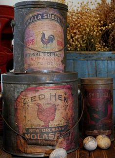 chickens on vintage cans