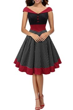I want this dress! ♡ This dress has a perfect retro inspired pinup 50's look. The bodice has a soft silky velvet feel fabric with decorative buttons. Dress is cut into wide A line style with off the shoulder straps. Distinctive polka dot design with stunning neckline, adding an wow! element to any look. A full circle skirt with wide contrasting hem band adds a finishing touch to the 1950's vintage rockabilly dress. The dress has a lined skirt with a side zipper for ease of wearing.