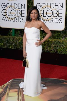 2016 Golden Globes Red Carpet - Taraji P. Henson in a white Stella McCartney gown