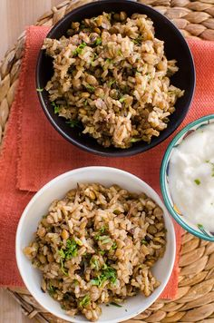 A take on the popular Middle Eastern dish mujaddara, this recipe is made with brown rice, lentils and onions and served with yogurt. Middle Eastern Dishes, Middle Eastern Recipes, Best Vegetarian Recipes, Good Healthy Recipes, Vegetarian Meals, Rice Recipes, Veggie Recipes, Veggie Meals, Lunch Recipes