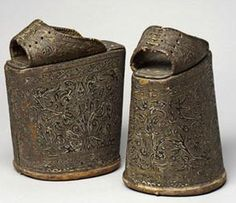 Spanish chopines before 1540 feature tooled leather over layered cork platforms. Modern platforms have nothing on these things
