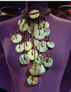 Turquoise disc cascade necklace from Iris Apfel collection