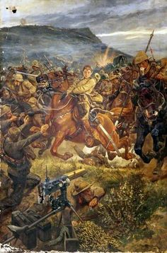 The royal Irish lancers charge and slaughter the Boers at Elandslaagte - Anglo-Boer war Military Art, Military History, Military Diorama, Art Uk, African History, British Army, Your Paintings, Victorian Era, Warfare