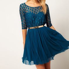 [US$40.99] - Lace Chiffon Splice Half Sleeve Dress : ThatsPoint.com