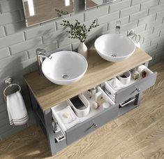 Sutton Countertop Vanity Unit and Double Camila Basin Bathroom Sink Units, Sink Vanity Unit, Modern Bathroom Sink, Double Sink Bathroom, Bathroom Basin, Bathroom Cabinets, Bathroom Vanities, Bathrooms, Vanity Basin