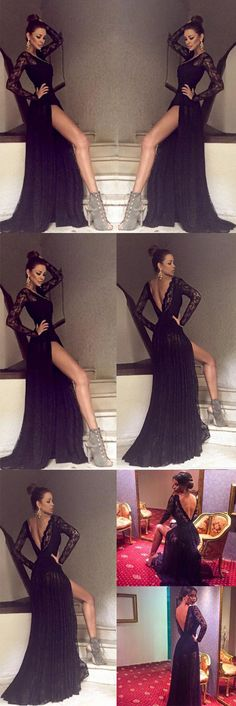 Black Long Sleeves Lace Side Split Sexy V Back Long Prom Dress, PM0003