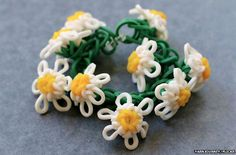 Loom bands in a daisy chain