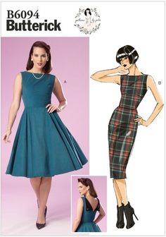 Retro dress from my Patterns by Gertie line with Butterick!This style uses Butterick sizes, NOT Charm Patterns sizes! Please refer to the size chart in the images.Sleeveless dress has close-fitting… Butterick Sewing Patterns, Easy Sewing Patterns, Vintage Sewing Patterns, Clothing Patterns, Vintage Style Dresses, 50s Dresses, Fashion Dresses, Dresses For Work, Dress Vintage